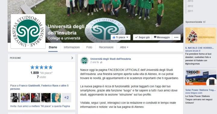 Nuova pagina Facebook dell'Università dell'Insubria