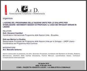 A.G.eD convegno su L' ONU E I MOVIMENTI MASSIVI DEI PROFUGHI-30 APRILE