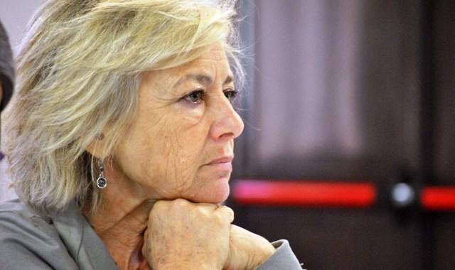 Giuliana Sgrena nella Piazza Virtuale dell'8 marzo a Como.