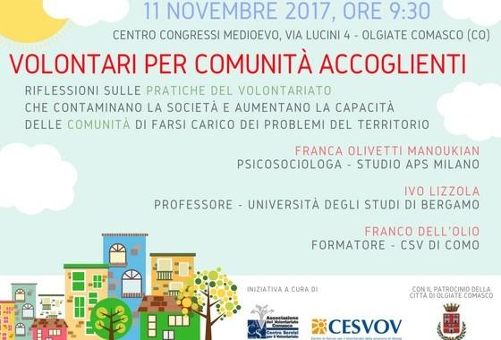 11 novembre/ Volontari per comunità accoglienti