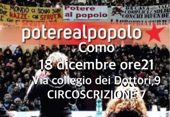18 dicembre/ Potere al popolo a Como