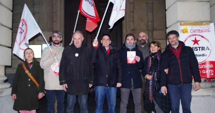 Provocazione fascista durante la conferenza stampa di Massimo Gatti,  Sinistra per la Lombardia