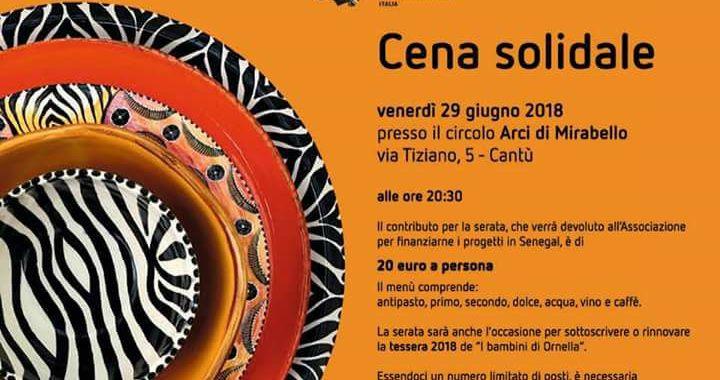 29 giugno/ Cantù/ Cena solidale a Mirabello per I bambini di Ornella