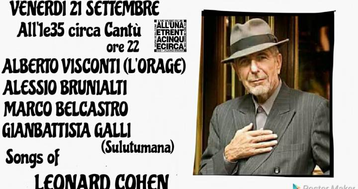 21 settembre/ Cantù/ Songs of Leonard Cohen