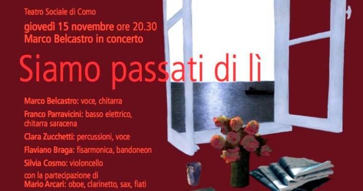 """15 novembre/ """"Siamo passati di lì"""": Marco Belcastro in concerto"""