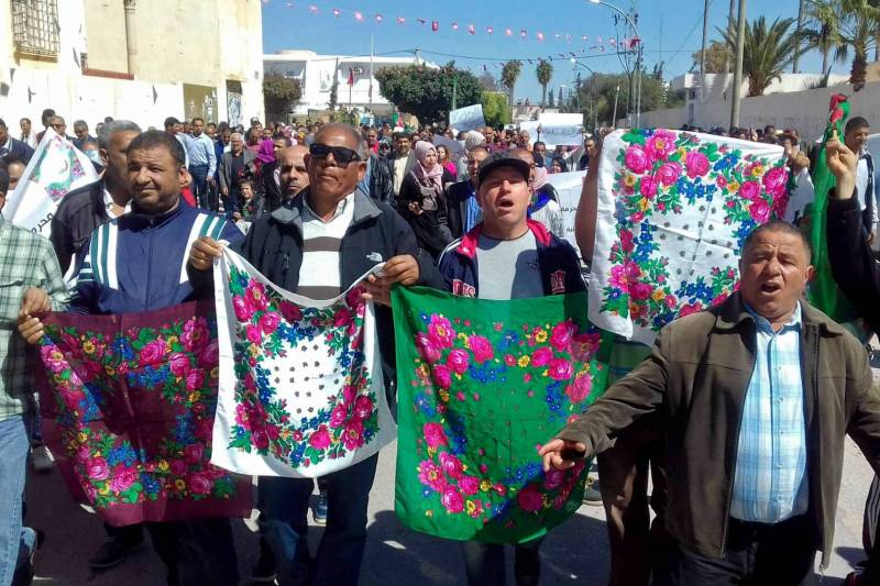 Dimostratori a Sidi Bouzid - AFP