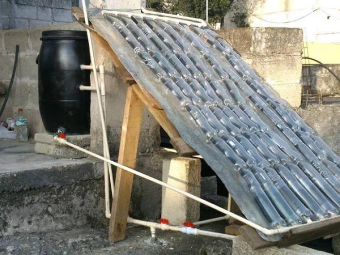calentador solar con botellas de gaseosas
