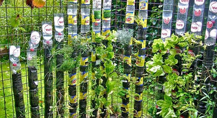 jardines verticales con torres de botellas de plástico