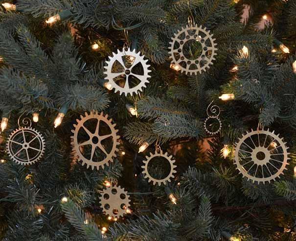 engranajes como adornos para el rbol de navidad