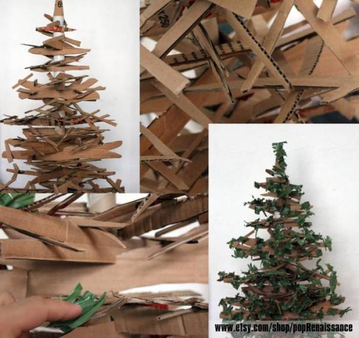 31 ideas para tu rbol de navidad con materiales reciclados - Como hacer un arbol de navidad de carton ...