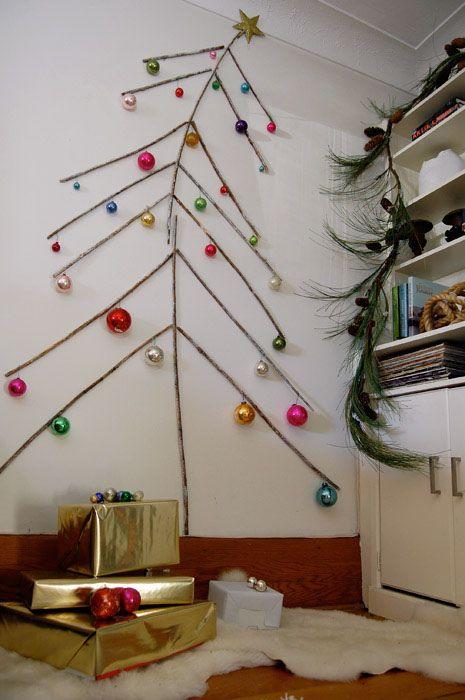 rbol de navidad con ramas de madera