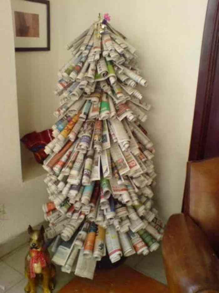 31 ideas para tu rbol de navidad con materiales reciclados - Los mejores arboles de navidad decorados ...