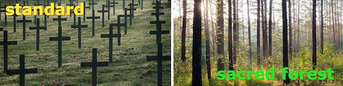 Cementerios sagrados con Capsula mundi