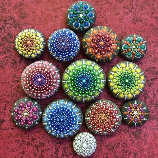 Como pintar piedras para crear coloridos Mandalas8