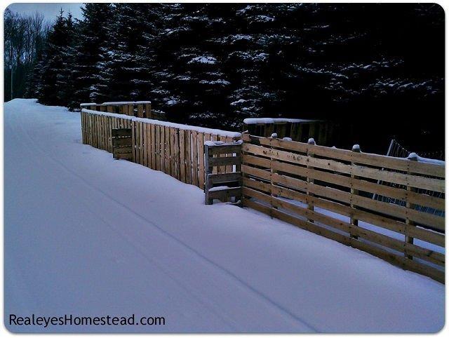 Valla de palets bajo la nieve