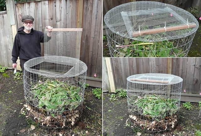 Una sencilla compostadora hecha con tela metálica