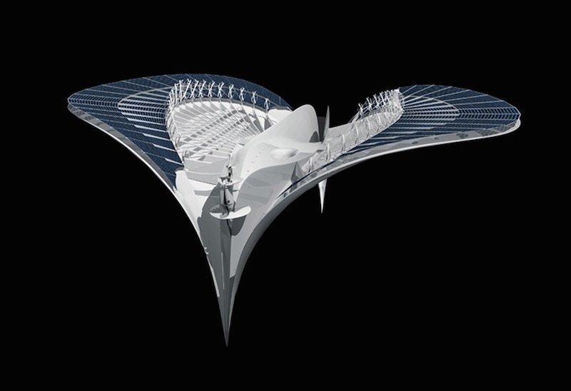 Ciudad flotante con forma de manta raya estructrura