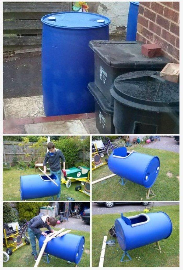 Cómo hacer un coche de carreras con un barril de plástico4