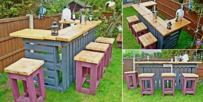 Como hacer una barra de bar en tu jard n con palets - Reciclar palets para jardin ...
