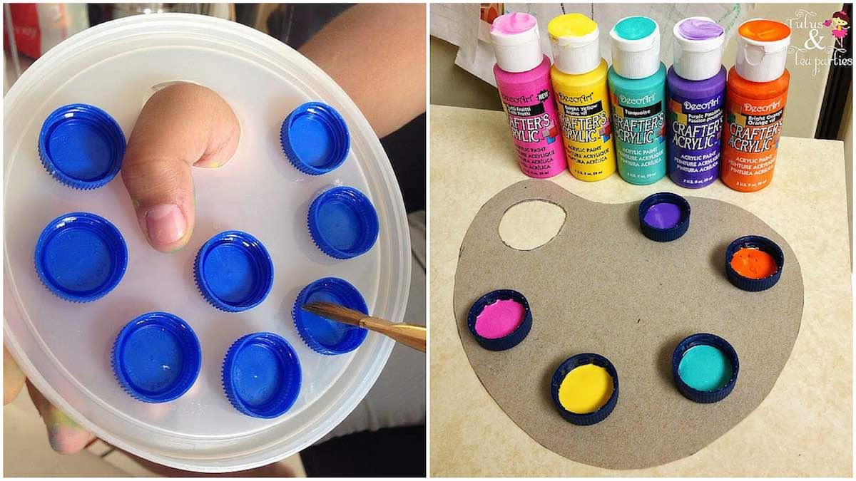 Cómo hacer una paleta de pintor con tapones de botellas