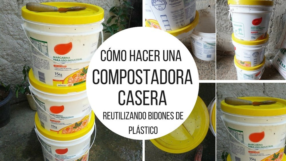 compostadora casera con bidones de plástico