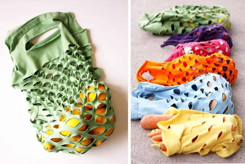 Cómo hacer bolsas con camisetas viejas