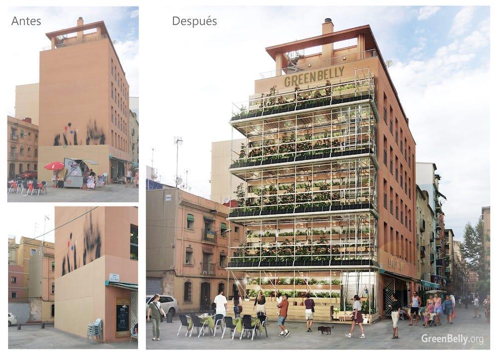 GreenBelly, huertos verticales urbanos en muros de edificios sin uso