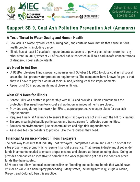 Support SB9, Coal Ash Pollution Prevention Act!