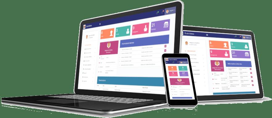 logiciel de gestion scolaire sur PC, tablettes, smartphones