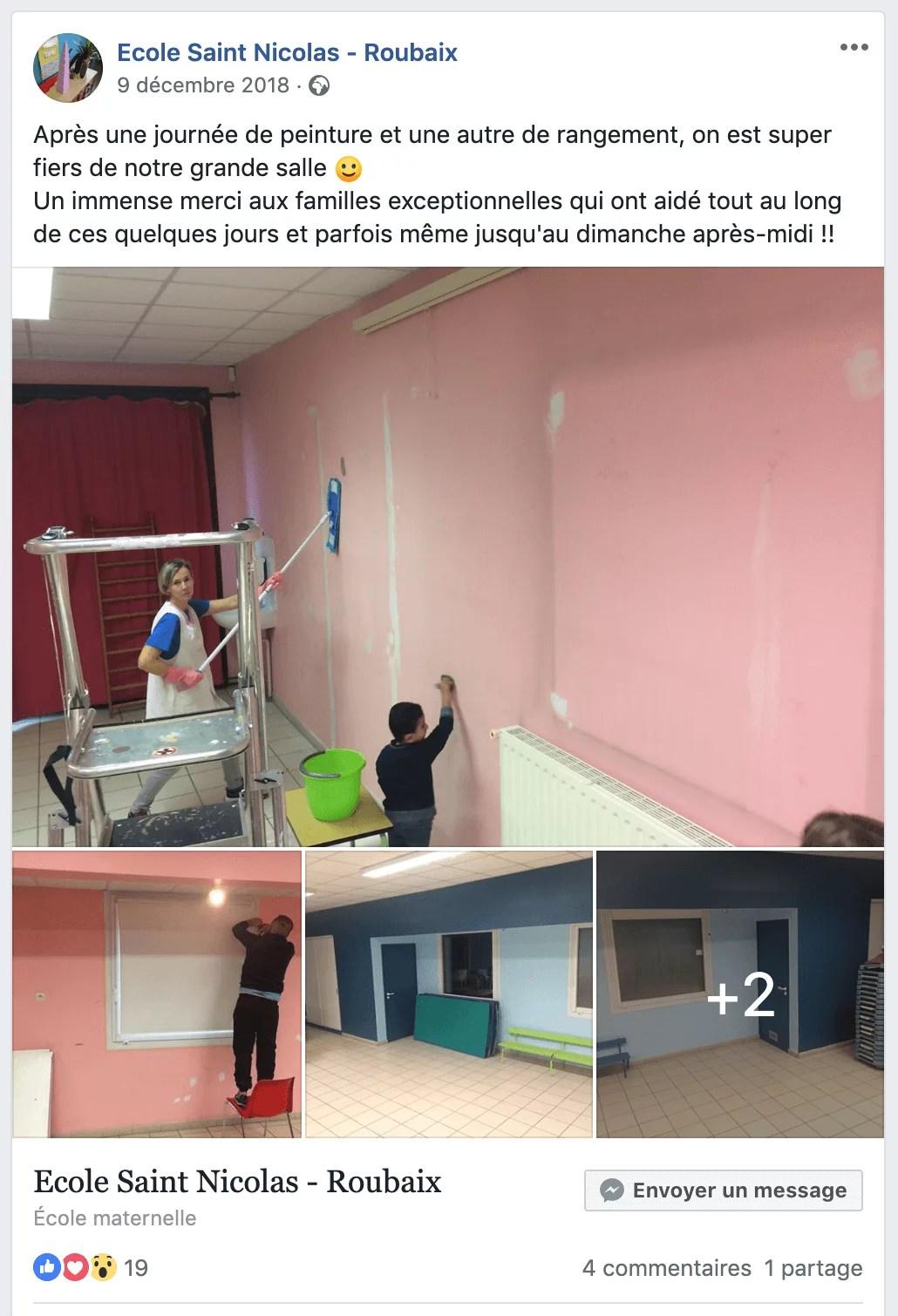 Peinture de la grande salle Saint Nicolas sur Facebook