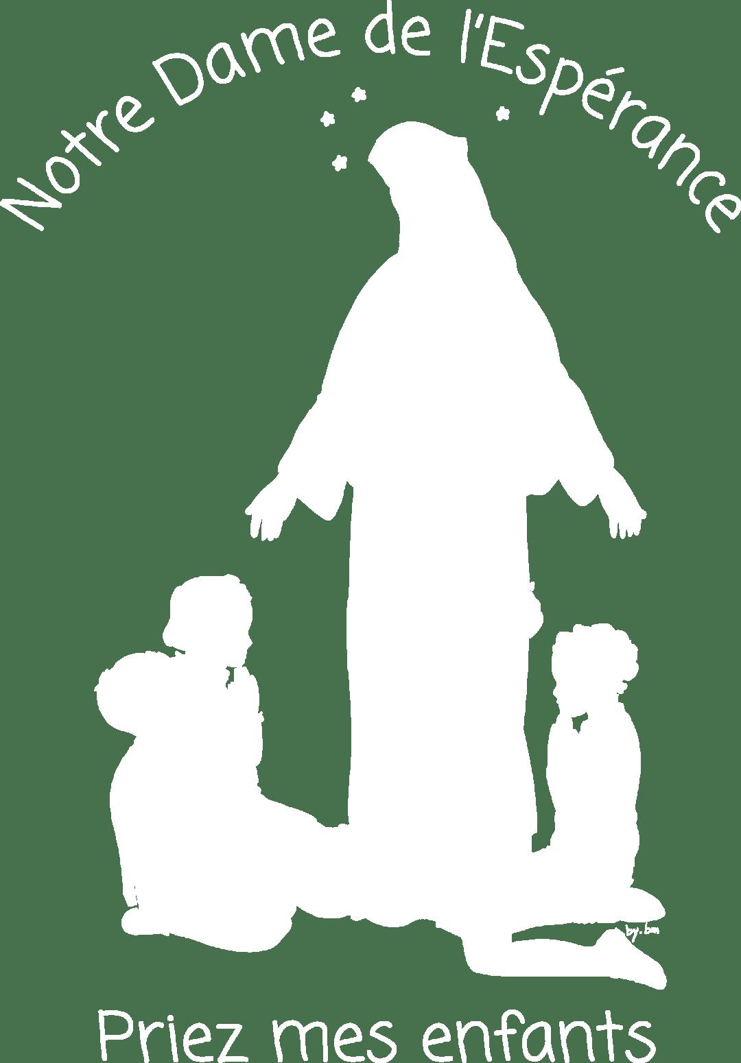 logo de l'école Notre-Dame de l'Espérance à Bourges, blanc sur fond transparent