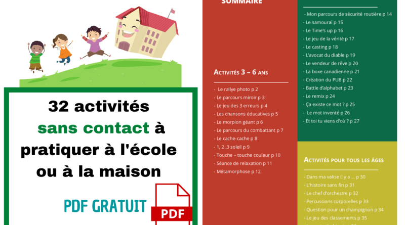 Un Livret Gratuit Sur Des Jeux Sans Contact Ecole Positive