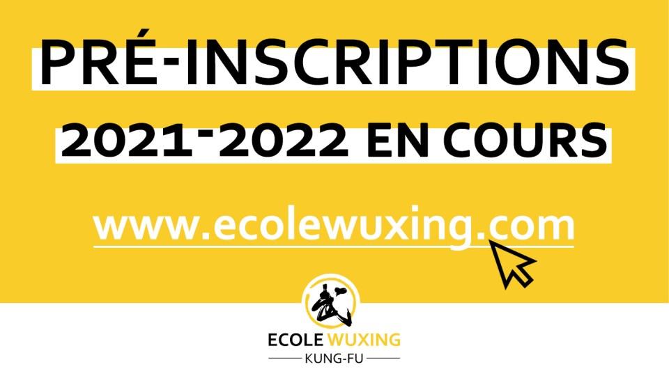 Pré inscriptions Kung-Fu Wushu Ecole Wuxing Cours arts martiaux Bousse Vigy Moselle 2021 2022