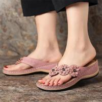 Women's Flower Sandals 2020 Summer Wedge Slippers  Shoes Women Vintage Flip Flops Female Ladies Woman Sandals Lady Casual Slides