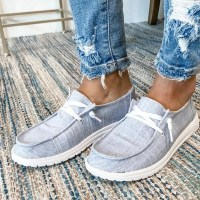 Women Casual Shoes Lace Up Canvas Loafers Summer Soft Breathable Shoes Student Girl Lightweight Ladies Sneakers Plus Size