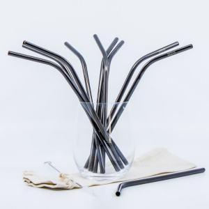 Čierna kovová ekologická slamka