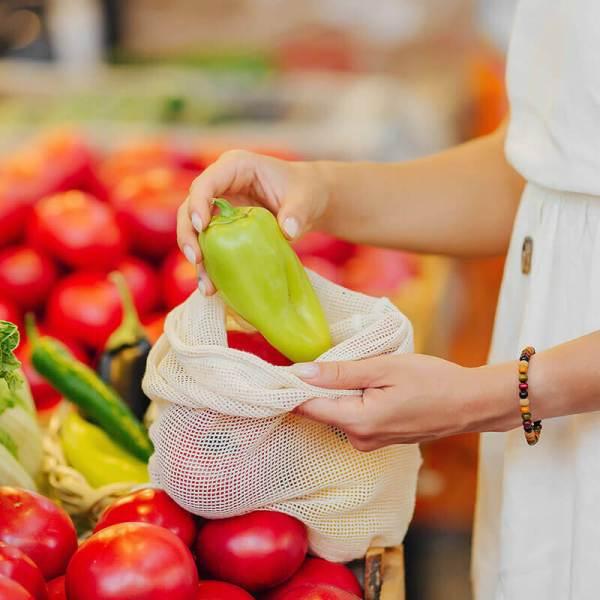 Sieťové bavlnené vrecká na ovocie a zeleninu