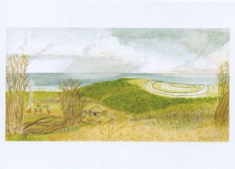 Whitehawk Hill causewayed enclosure and early famers, around 5,500 years ago. As seen from Sheepcote Valley, East Brighton © Jane Hawkins - watercolour & gouache - 2014