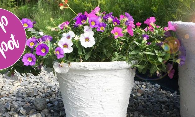 Een oude bloempot pimpen met muurvuller voor een fris nieuw design