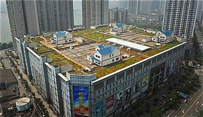 Construir casas y zonas verdes sobre las azoteas, la nueva moda en China