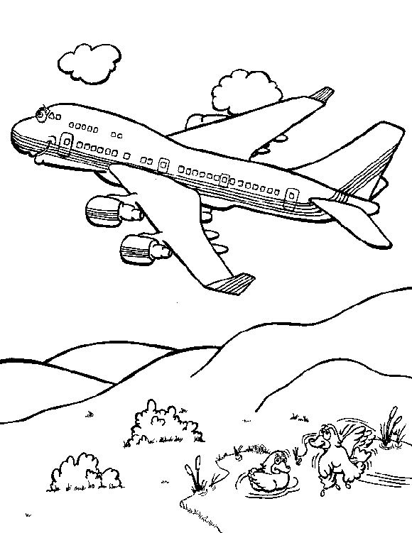 Free coloring pages of boeing 747 p