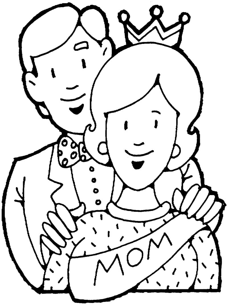 Happy Mothers Day Mom and Dad Coloring Page Printable for