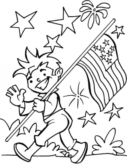 Fourth of July Boy with Flag and Fireworks Coloring Page
