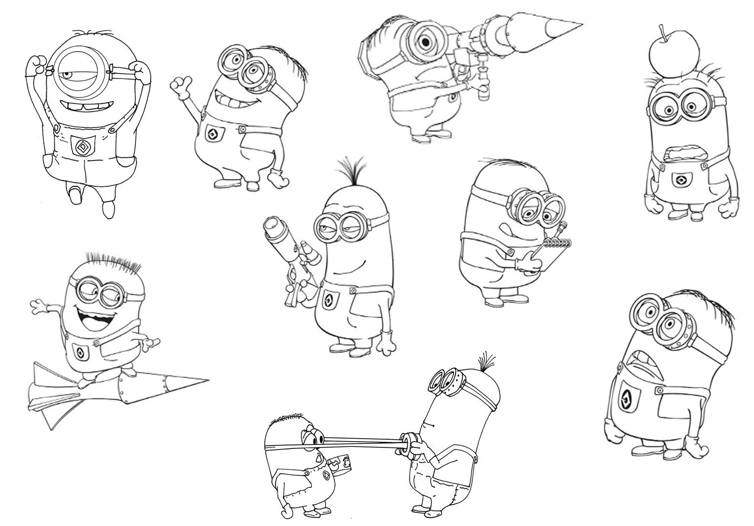 Despicable Me 2 Minions Coloring Pages Printable for Kids