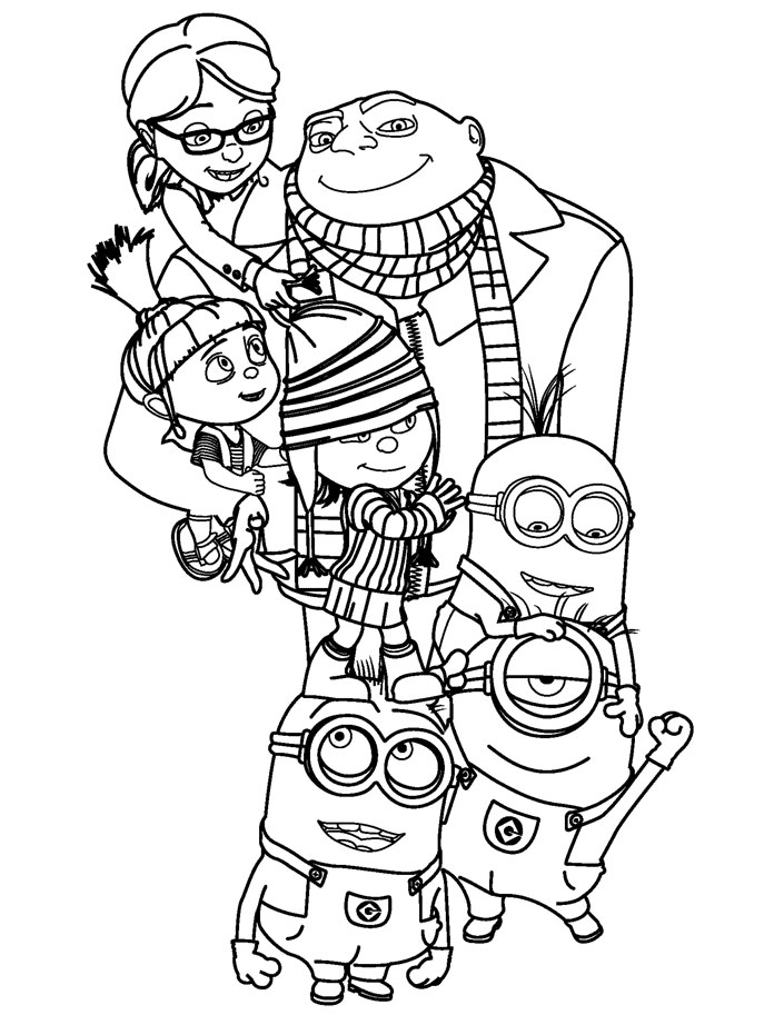 Despicable Me Gru, Daughters, and Minions Coloring Pages