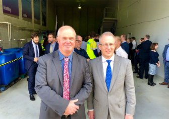 The Hon Paul FLETCHER MP, Federal Minister for Urban Infrastructure and Cities, with EcoMag Executive Chairman Tony CRIMMINS.