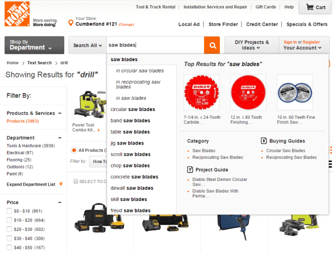 HomeDepot.com search type ahead 1
