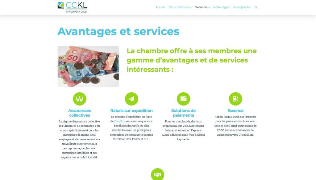 Page Avantages et services