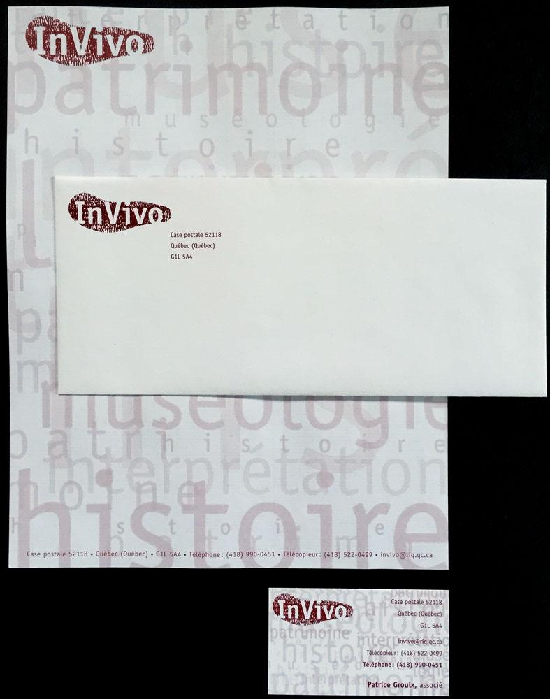 Logo et papeterie d'InVivo, une firme de consultants en patrimoine.