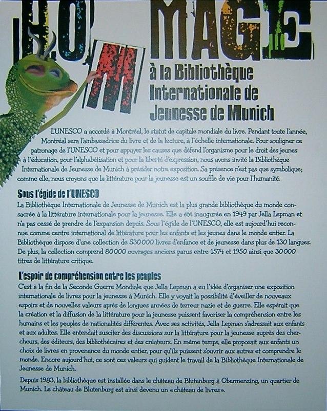 Panneau informatif de l'exposition